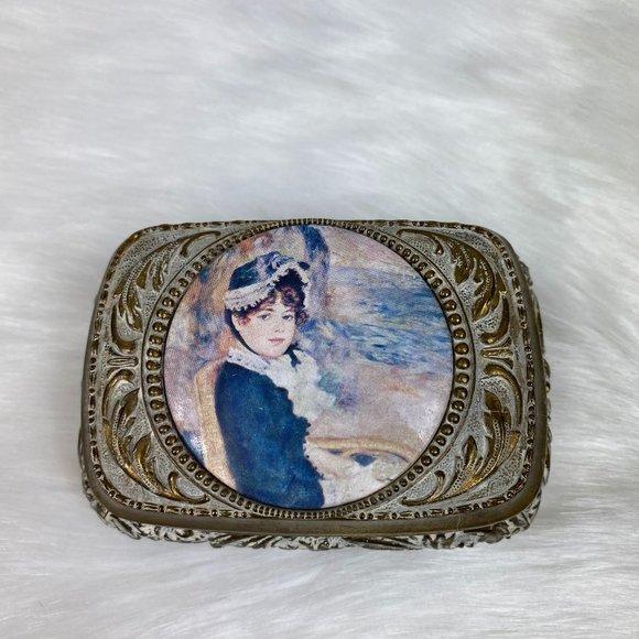 Vintage Japan Victorian Woman Cameo Trinket Box